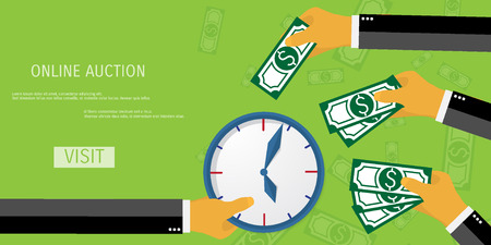 analogy: Business concept for time management. Auction time.