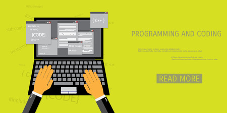 Vector flat concept of programming and coding. Network technology.  Search engine optimization. Internet and global communication. Concepts for web banners and promotional materials.