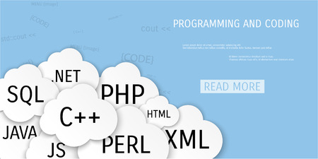 web application: Vector flat concept of programming and coding. Network technology. Search engine optimization. Internet and global communication. Concepts for web banners and promotional materials.