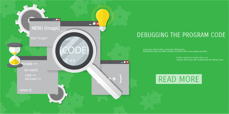 compiler: Vector flat concept of programming and coding. Debug program.  Search engine optimization. Code optimization. Concepts for web banners and promotional materials. Illustration
