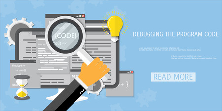 compilation: Vector flat concept of programming and coding. Debug program.  Search engine optimization. Code optimization. Concepts for web banners and promotional materials. Illustration