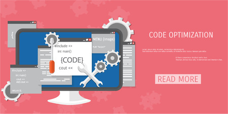 Vector flat concept of programming and coding. Debug program.  Search engine optimization. Code optimization. Concepts for web banners and promotional materials. Ilustrace