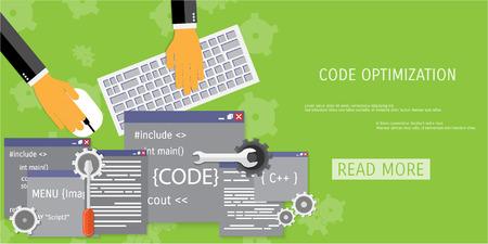 debug: Vector flat concept of programming and coding. Debug program.  Search engine optimization. Code optimization. Concepts for web banners and promotional materials. Illustration