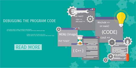 compiler: Vector flat concept of programming and coding. Debug program. Search engine optimization. Code optimization. Concepts for web banners and promotional materials.