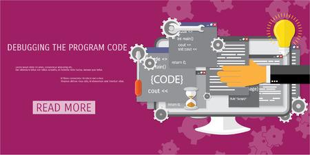 Vector flat concept of programming and coding. Debug program. Search engine optimization. Code optimization. Concepts for web banners and promotional materials.