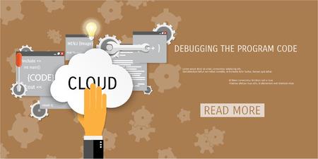 debug: Vector flat concept of programming and coding. Debug program. Search engine optimization. Code optimization. Concepts for web banners and promotional materials.