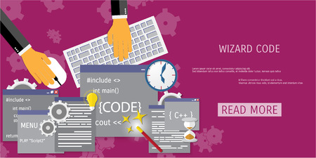 debug: Vector flat concept of programming and coding. Debug program. Search engine optimization. Wizard code. Concepts for web banners and promotional materials.