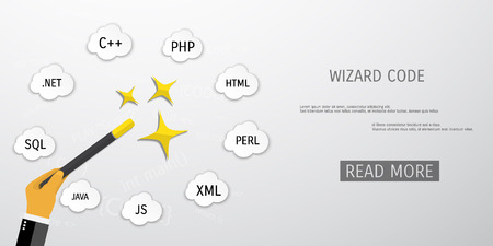 compiler: Vector flat concept of programming and coding. Debug program. Search engine optimization. Wizard code. Concepts for web banners and promotional materials.