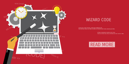 Vector flat concept of programming and coding. Debug program. Search engine optimization. Wizard code. Concepts for web banners and promotional materials.