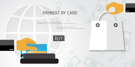 near: Vector payment by card concept illustration. Web shop. Internet store.
