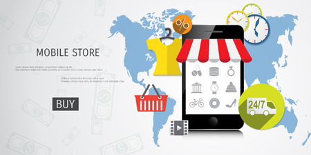 Vector online shopping concept illustration. Web shop. Internet store. E-commerce and internet banking.