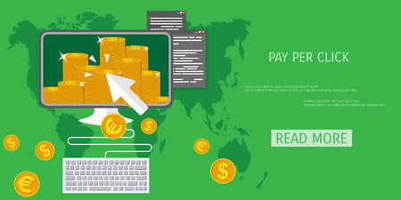per: Vector pay per click concept illustration. Freelance job. Internet working. E-commerce and internet banking.