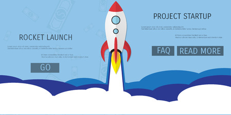 Vector flat rocket web icon. Start up concept.