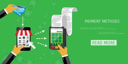 handing: Vector payment methods concept illustration. E-commerce and internet banking.