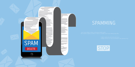 spamming: Vector spamming web flat background. Global communication. Social network. Concepts for web banners and promotional materials.