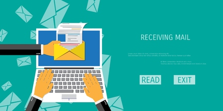 mail: Vector receive mail web flat background. Global communication. Social network. Concepts for web banners and promotional materials.