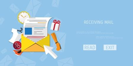 globális kommunikációs: Vector receive mail web flat background. Global communication. Social network. Concepts for web banners and promotional materials.