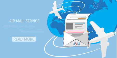 globális kommunikációs: Vector air mail service web flat background. Global communication. Social network. Concepts for web banners and promotional materials.