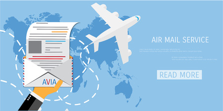 mail: Vector air mail service web flat background. Global communication. Social network. Concepts for web banners and promotional materials.
