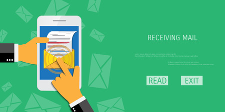 mail marketing: Vector receive mail web flat background. Global communication. Social network. Concepts for web banners and promotional materials.