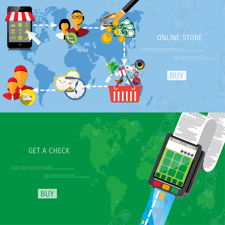 online purchase: Vector online shopping concept illustration. Web shop. Internet store. E-commerce and internet banking.
