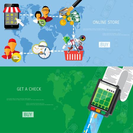 online business: Vector online shopping concept illustration. Web shop. Internet store. E-commerce and internet banking.