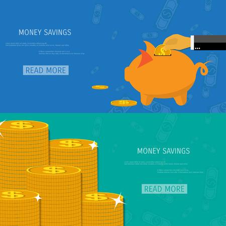 Vector money savings concept illustration. Web storage. Internet bank. E-commerce and internet banking. Illustration