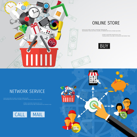 ecommerce icons: Vector online shopping concept illustration. Web shop. Internet store. E-commerce and internet banking.