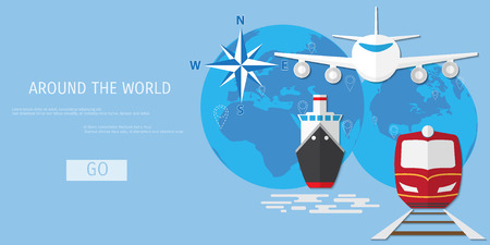 airplane: Vector flat concept of World travel and tourism. Holidays and vacation. Concepts for web banners and promotional materials.