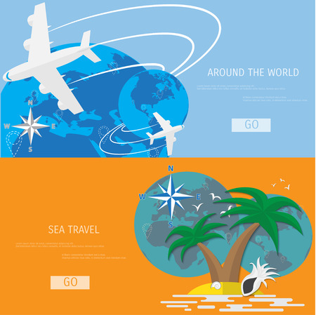 flat globe: Vector flat concept of World travel and tourism. Holidays and vacation. Concepts for web banners and promotional materials.