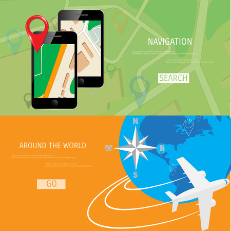 airbus: Vector flat concept of World travel and tourism. Navigation. Location search. Concepts for web banners and promotional materials.