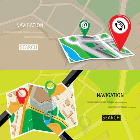 site map: Vector flat concept of World travel and tourism. Navigation. Location search. Concepts for web banners and promotional materials.