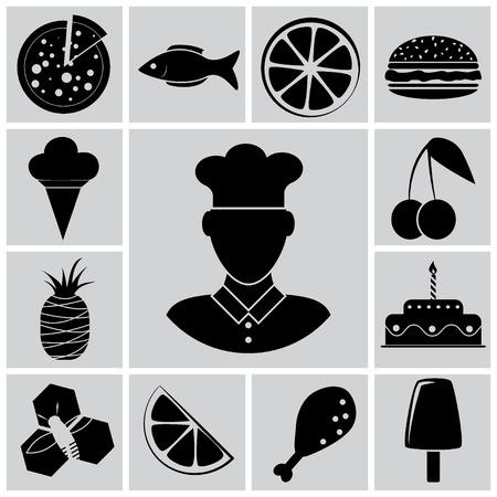 animal leg: Vector food icon set illustration Illustration