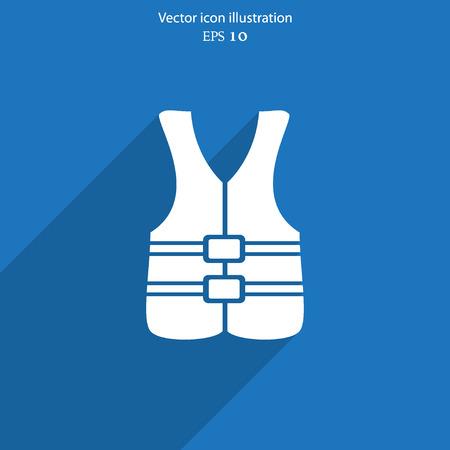 life jacket: Vector life jacket flat icon illustration.