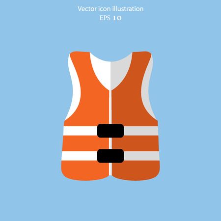 Vector life jacket flat icon illustration.