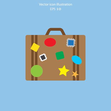 valise voyage: Vecteur bagages icône plat illustration.
