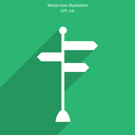 leading the way: Vector directional signs flat icon illustration.