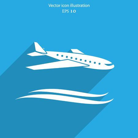 airplane travel: Vector travel airplane flat icon illustration.