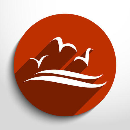 headquarter: Vector sea gulls flat icon illustration.