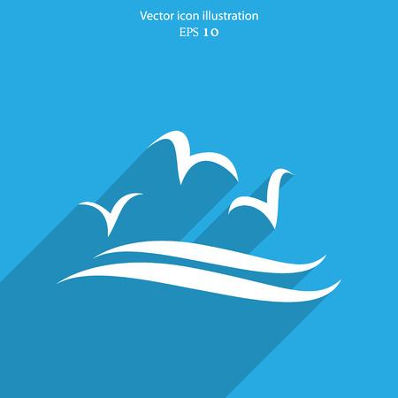 gulls: Vector sea gulls flat icon illustration.