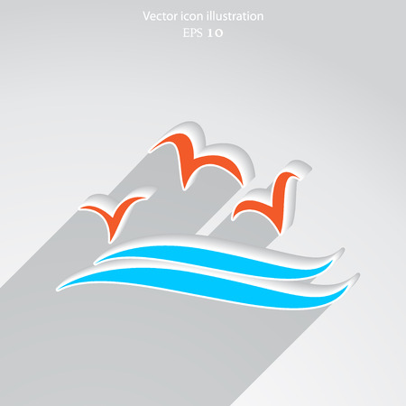 headquarters: Vector sea gulls flat icon illustration.