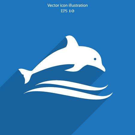 cetacea: Vector dolphin flat icon illustration.