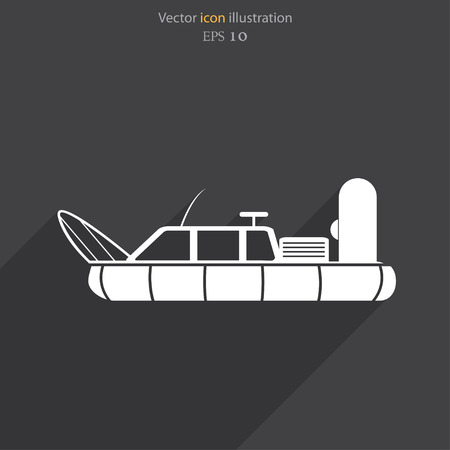 the hovercraft: Vector hovercraft flat icon illustration. Illustration