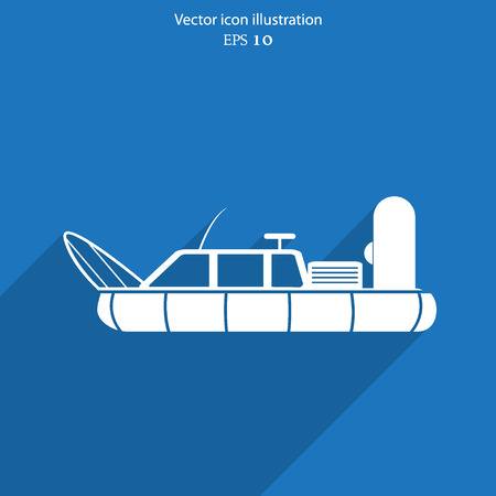 hovercraft: Vector hovercraft flat icon illustration. Illustration