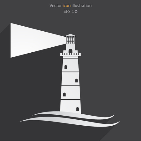 Vector lighthouse flat icon illustration.