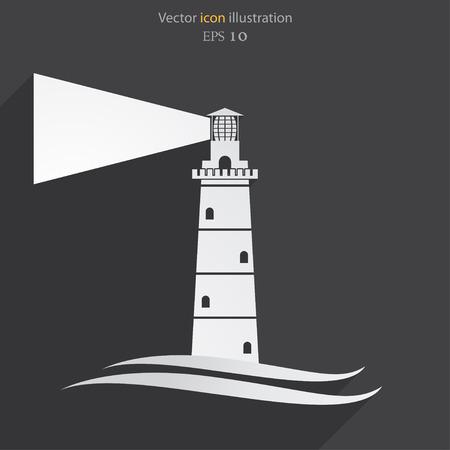 murk: Vector lighthouse flat icon illustration.