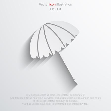 brolly: Vector beach umbrella flat icon illustration. Illustration