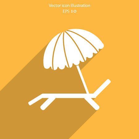 daybed: Vector beach umbrella and lounger flat icon illustration. Illustration