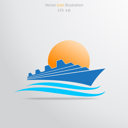 Vector ship flat icon illustration.