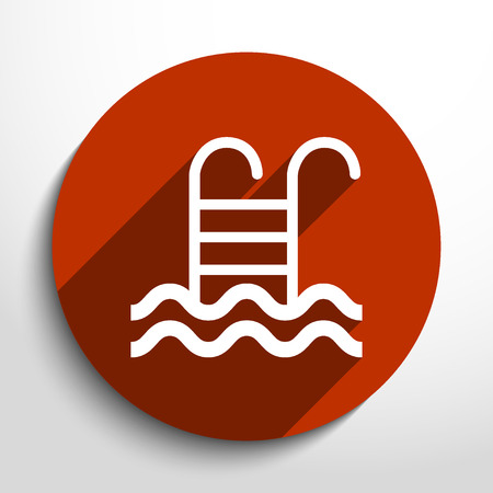 handrail: Vector swimming pool ladder flat icon illustration.